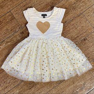 NWOT Striped Gold Glitter Heart Dress, 3T